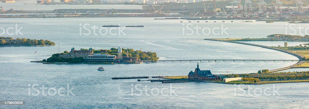 Ellis Island, New York Harbor and Liberty State Park stock photo