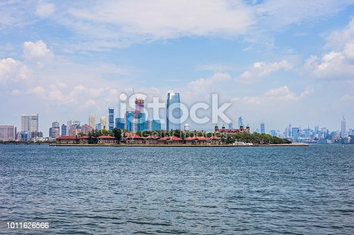 View of Ellis Island on a sunny day