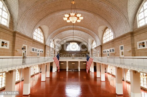 Grand hall in the Ellis Island Museum.  Historic building of immigration to the US.