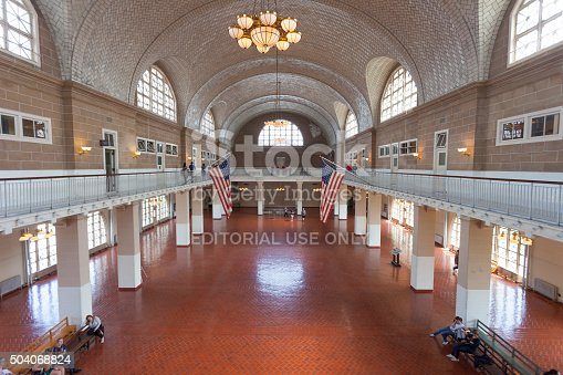 New York, USA - June 13, 2014: The historic Registry Room on Ellis Island, where millions of the nation's immigrants were processed.