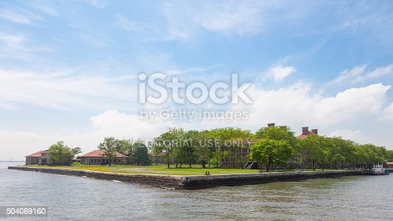 New York, USA - June 13, 2014: Ellis Island is a small island at the mouth of the Hudson River, 1892-1954 was the main entry point for immigrants who landed in the United States.