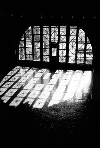 Ellis Island Window stock photo