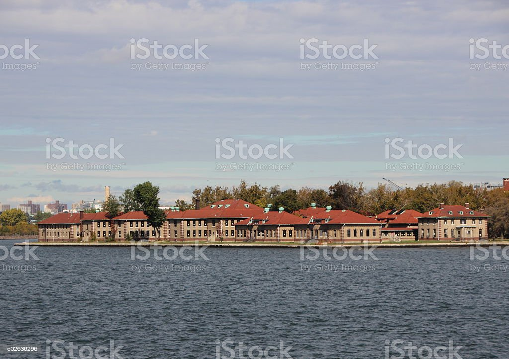 Ellis Island with Red Roof Administration Buildings stock photo
