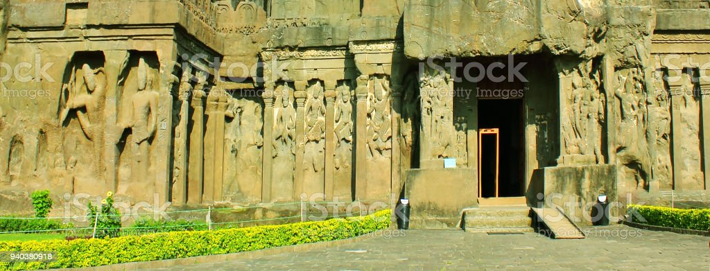 Ellora Caves in India - 1000 CE old single rock cut Kailash temple dedicated to Hindu God Shiva stock photo