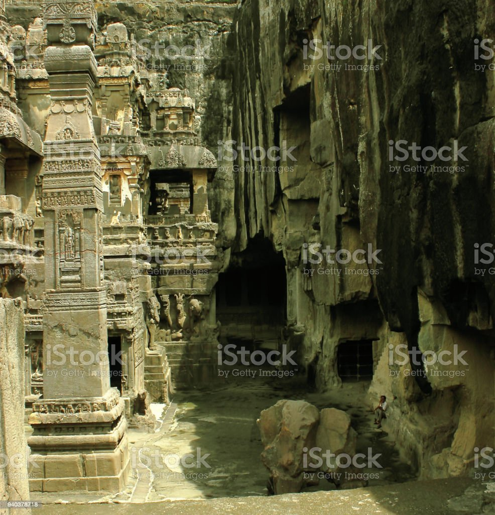 Ellora Caves Inside view in India - 1000 CE old single rock cut Kailash temple dedicated to Hindu God Shiva stock photo