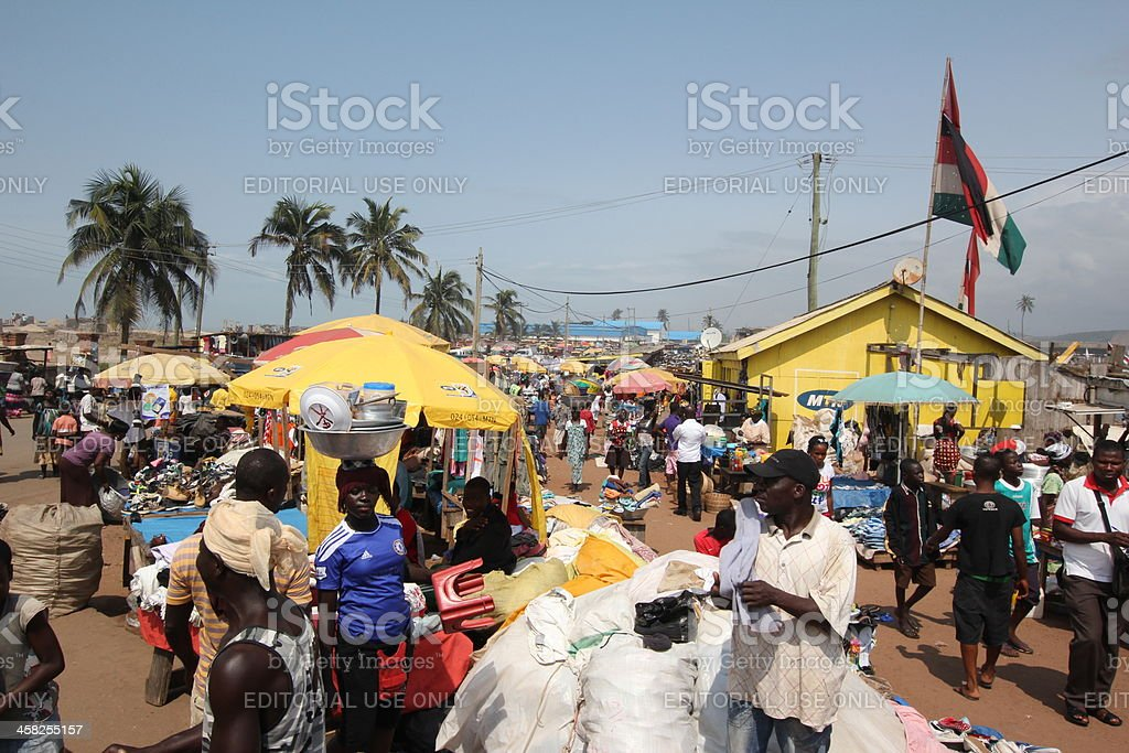 Elmina Market in Ghana, West Africa royalty-free stock photo