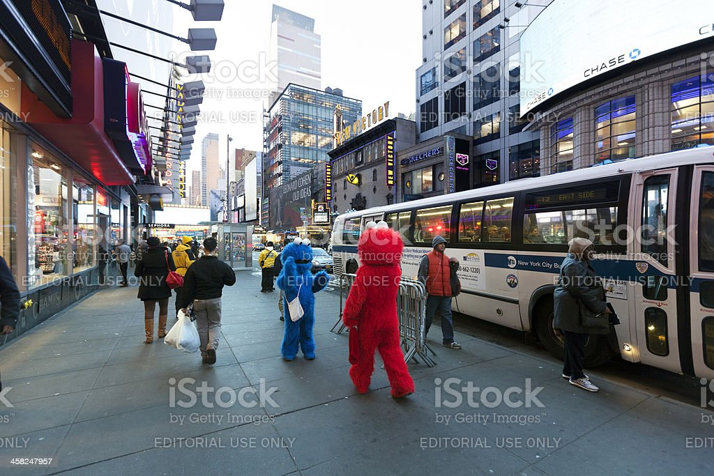 Elmo and Cookie Monster on 42nd Street Manhattan New-York royalty-free stock photo