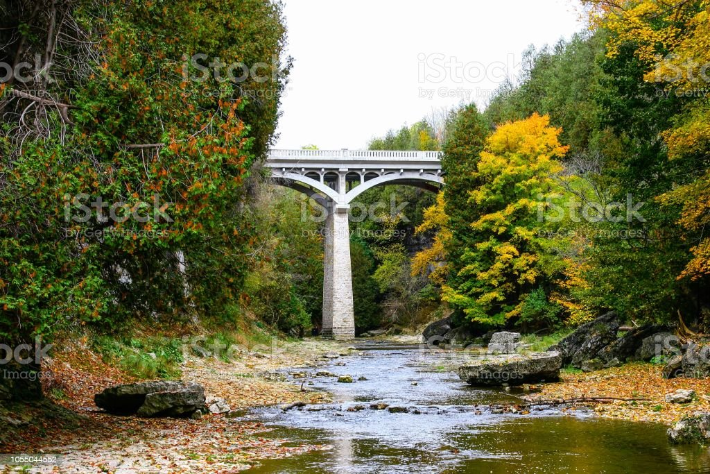 Elora Ontarion in the fall stock photo