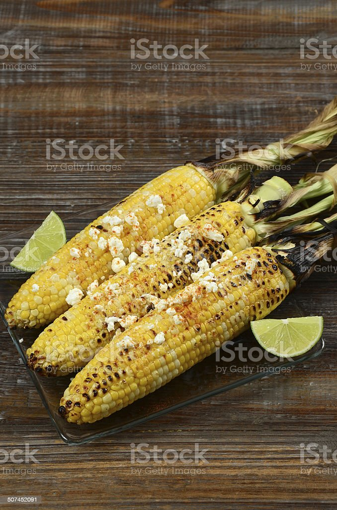 Elote Corn on the Cob stock photo