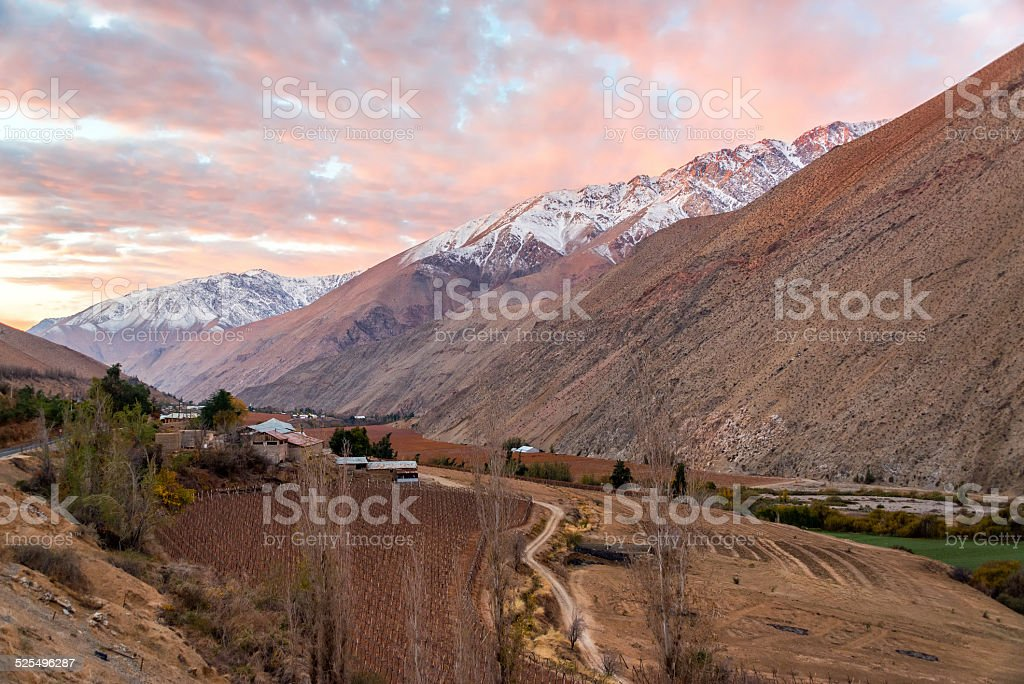 Elqui Valley Sunset stock photo