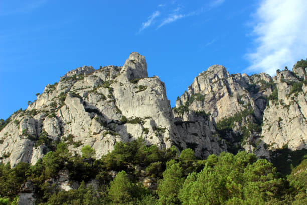 Els Ports rugged mountain range in the Parc Natural dels Ports, Catalonia, Spain stock photo