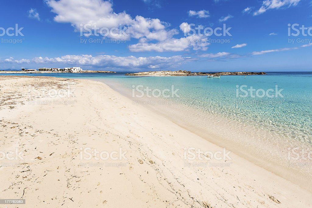 Els Pujols beach in Formentera island, Mediterranean sea, Spain stock photo