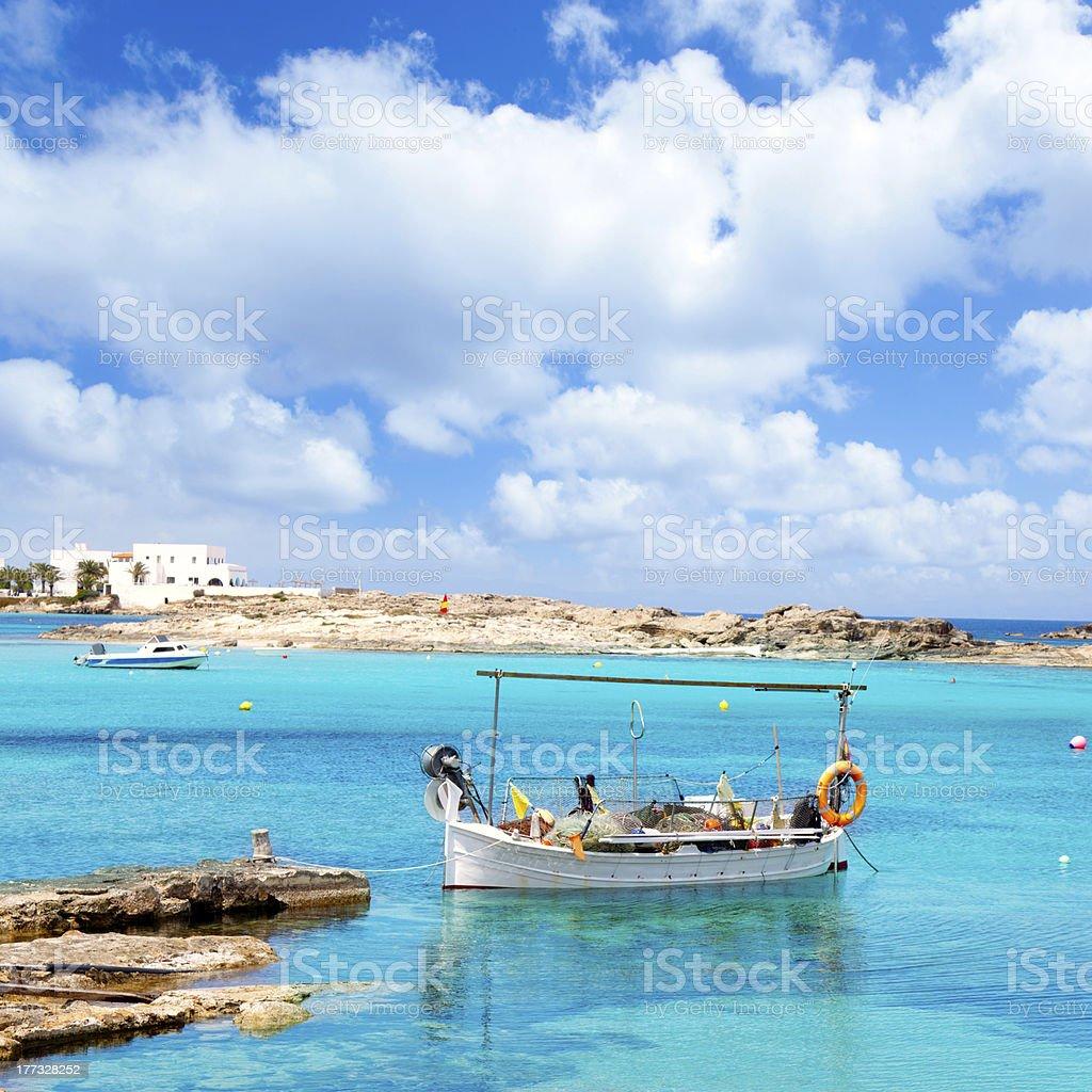 Els Pujols beach in Formentera stock photo