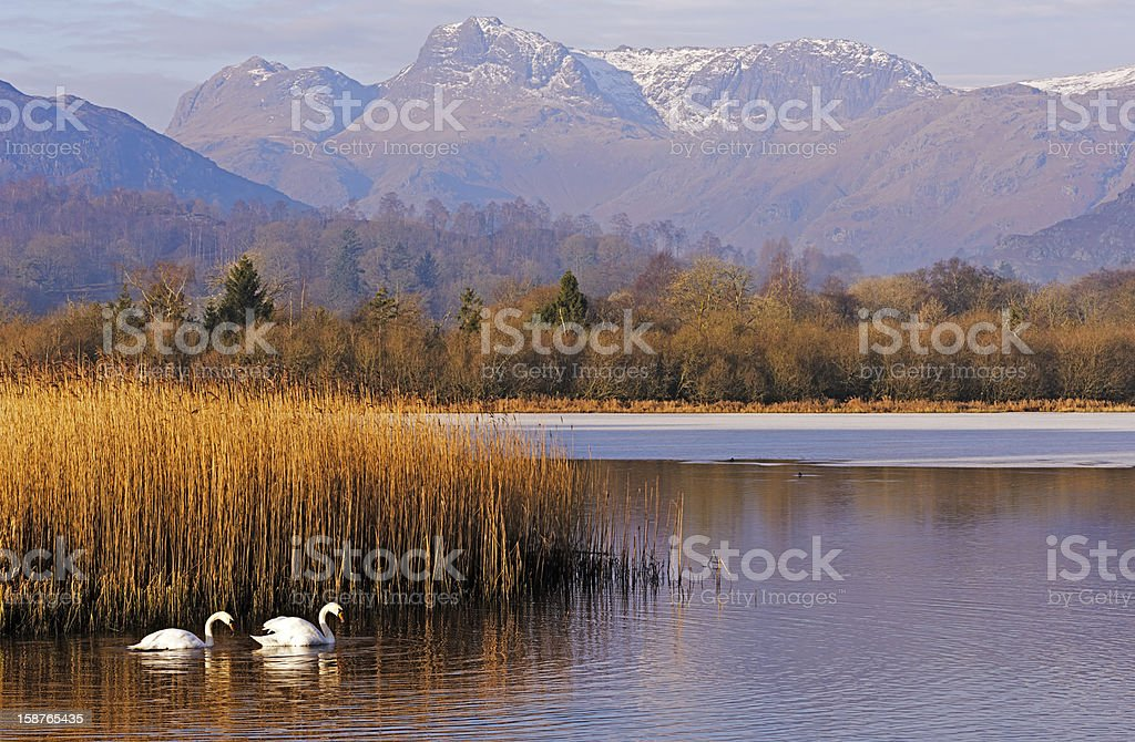 Elterwater & the Langdale Pikes in Winter stock photo