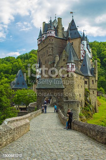 ELTZ CASTLE, RHINELAND-PALANTINE / GERMANY - MAY 23 2019: Eltz Castle in Western Germany. This picturesque castle is one of the most famous travel destinations in Germany.