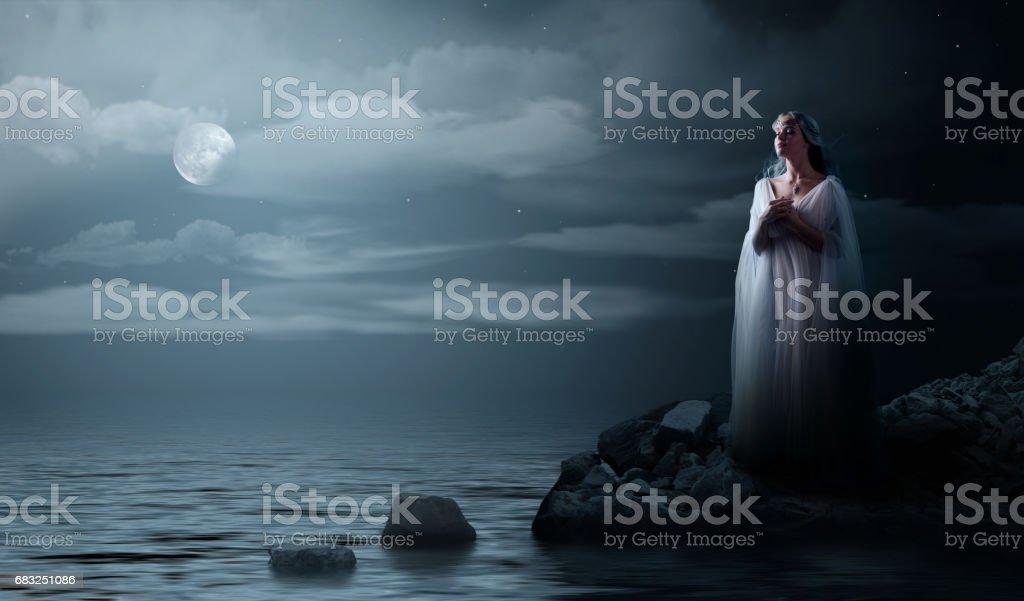 Elven girl on sea coast royalty-free stock photo