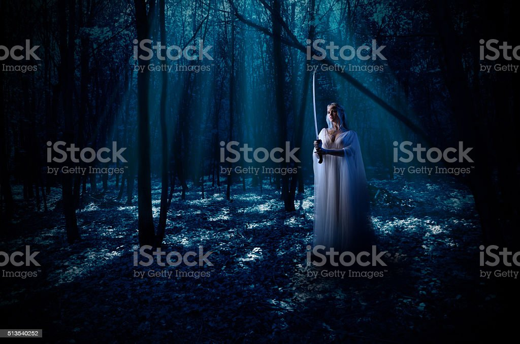 Elven girl with sword at night forest stock photo