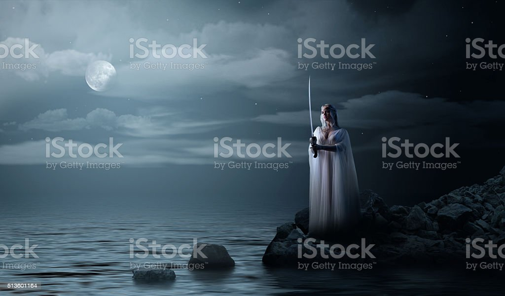 Elven girl with sword at night sea shore stock photo