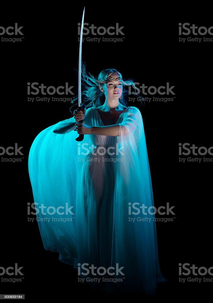 Elven girl with sword stock photo