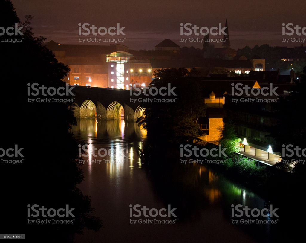 Elvet Bridge And Durham City Skyline At Night Stock Photo More