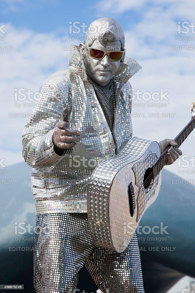 Elvis Busker Performance stock photo