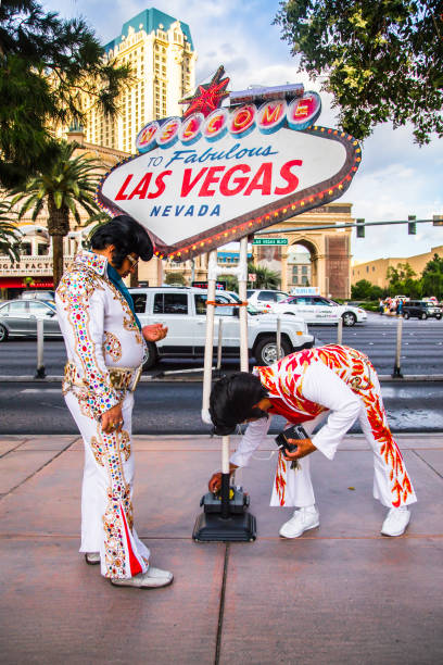 elvis impersonators las vegas - elvis stock photos and pictures