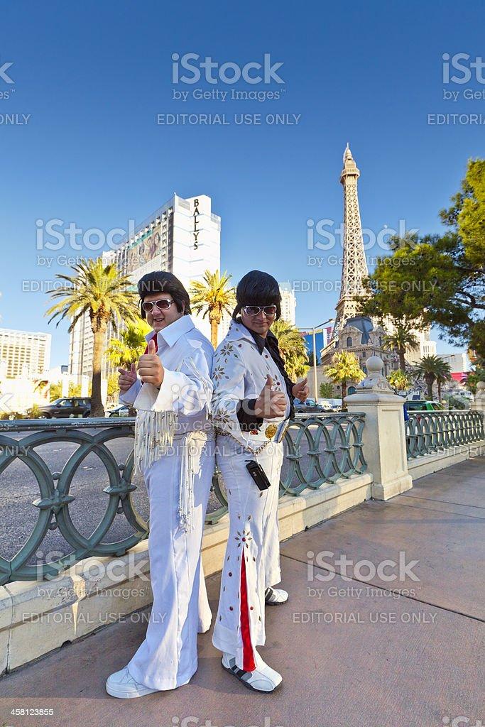 Elvis impersonators on Las Vegas Strip, Nevada. stock photo