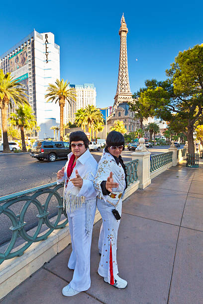 elvis impersonators on las vegas strip, nevada. - elvis stock photos and pictures