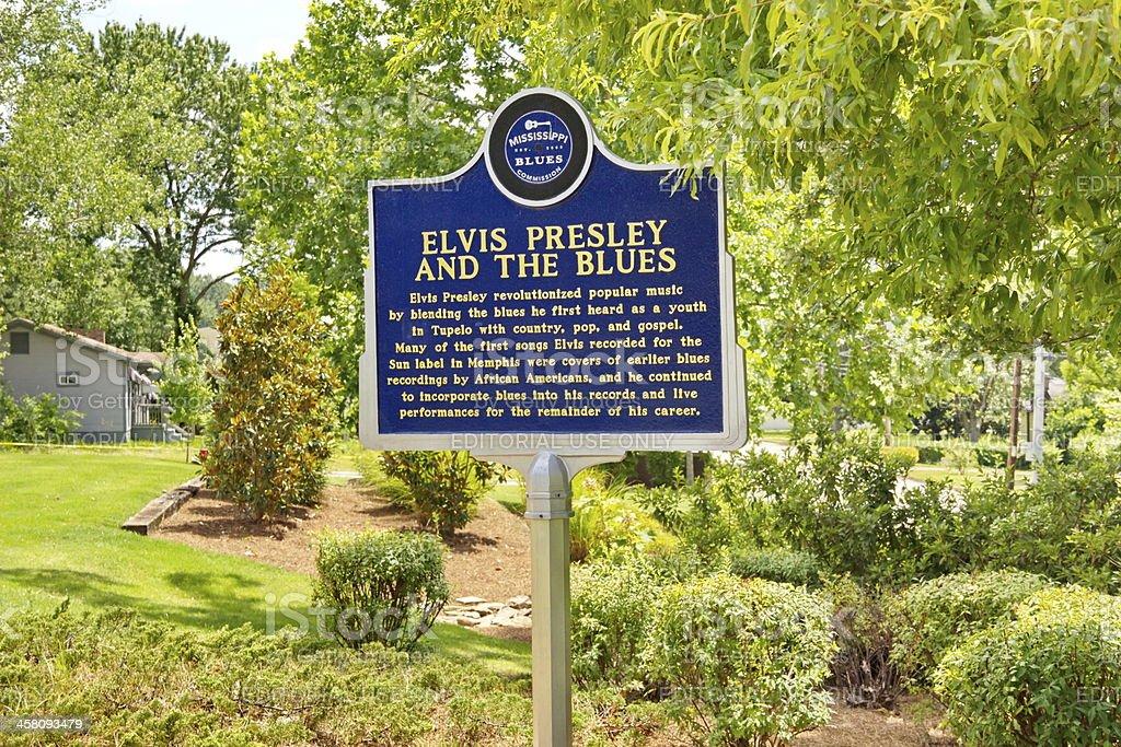 Elvis Presley Blues Trail Marker, Tupelo, MS stock photo