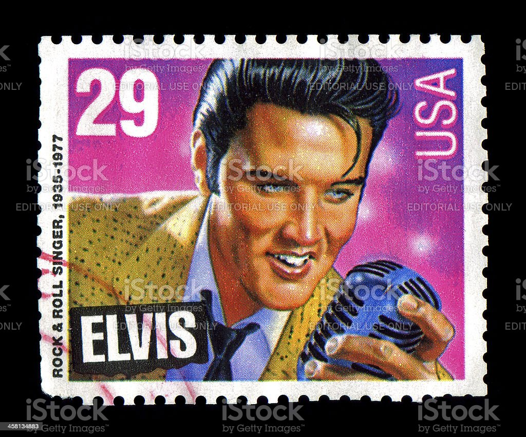 Elvis Presley commemorative postage stamp USA 1993 stock photo