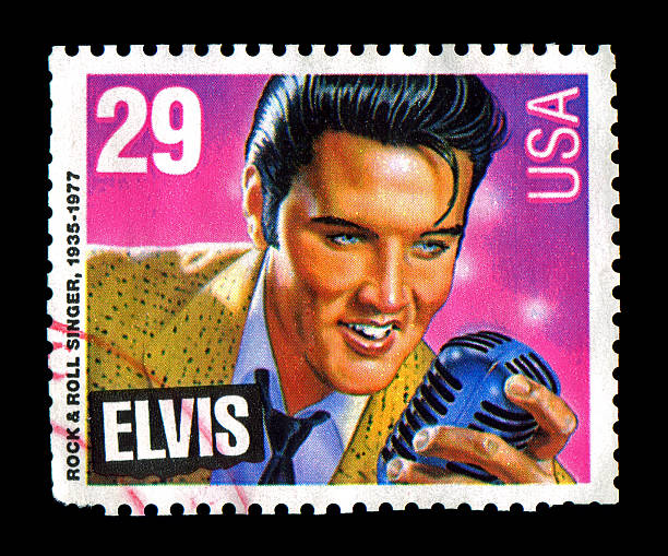 elvis presley commemorative postage stamp usa 1993 - elvis stock photos and pictures