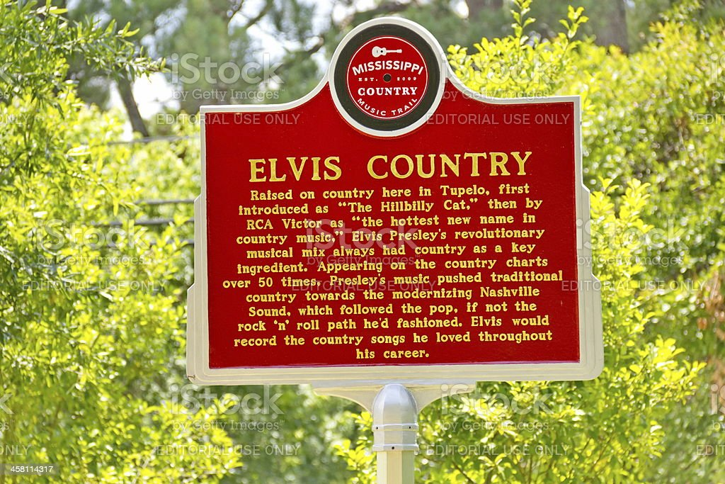 Elvis Presley Marker on the Mississippi Country Music Trail royalty-free stock photo