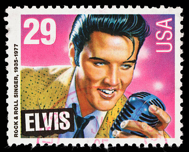 usa elvis presley postage stamp - elvis stock photos and pictures