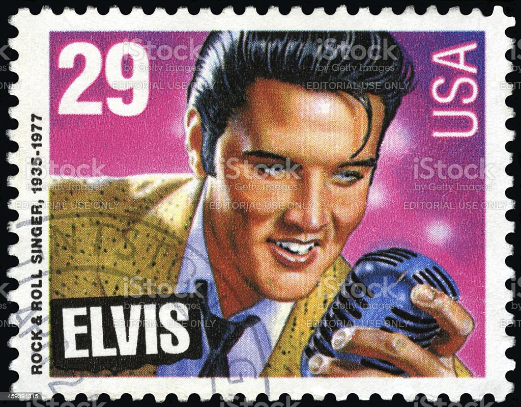Elvis Presley postage stamp stock photo
