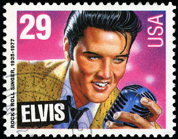 elvis presley postage stamp - elvis stock photos and pictures