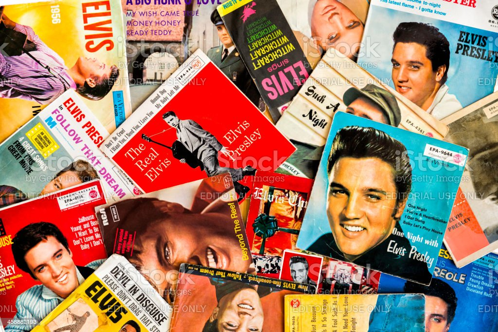 Elvis Presley single covers stock photo