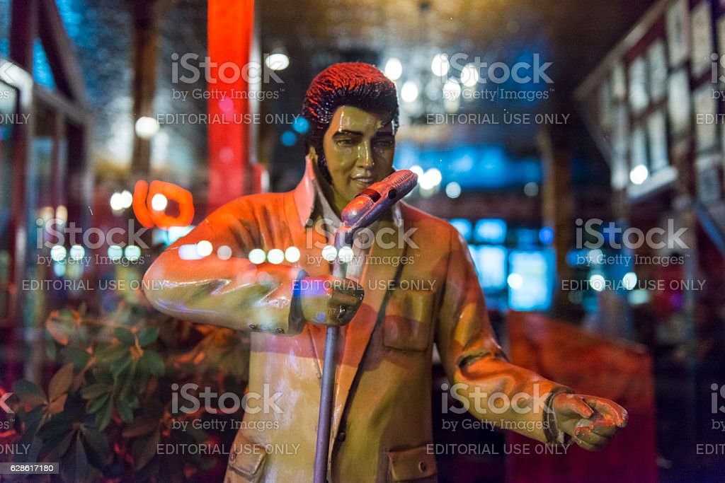 Elvis Statue Display in Retail Small Business Beale Street Memphis stock photo