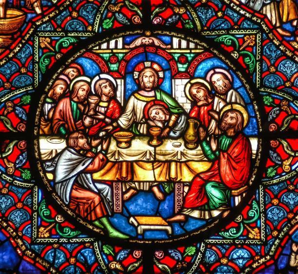 Ely, Cambridgeshire, Großbritannien, 19. Juli 2007, Ely Cathedral Glasfenster, die letzte Abendmahl mit Jesus Christus und die Jünger am Tisch – Foto