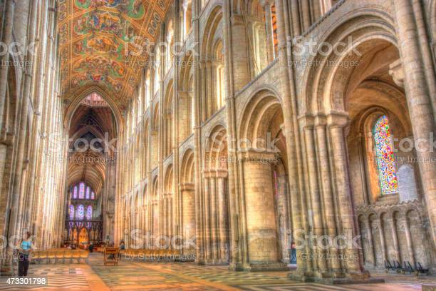 Ely, United Kingdom - August 18, 2014: The painted ceiling of Ely Cathedral in Cambridgeshire taken from the open area at the entrance. This is a combination of 3 bracketed exposure 3 stops apart combined in HDR software to bring out detail in the shadows.