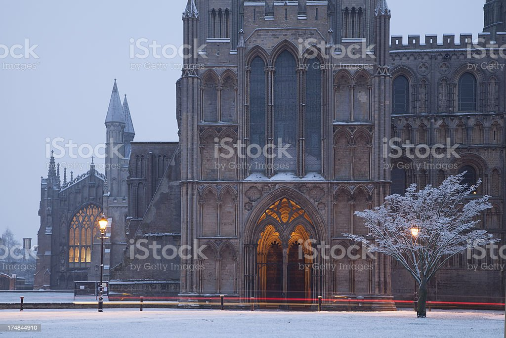 Ely Cathedral in the snow royalty-free stock photo