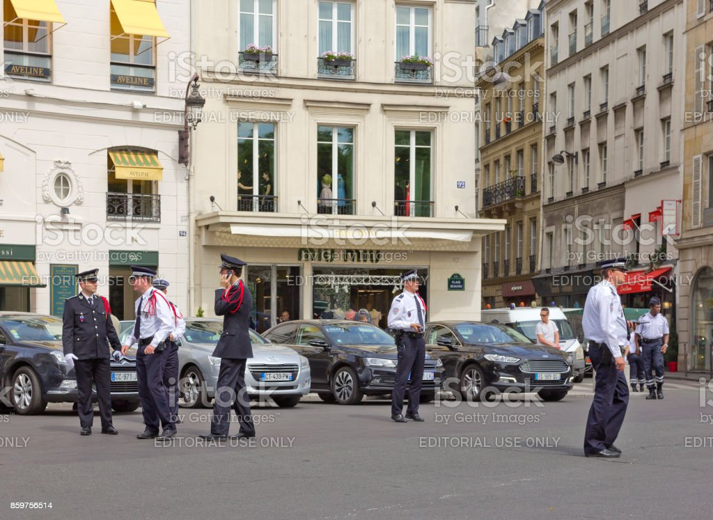 Elysee Palace guards on Place Beauvau square in Paris, France stock photo