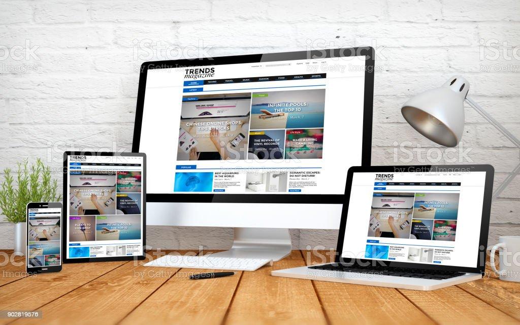 eMagazine Webseite ansprechende Design Bildschirm multidevices – Foto