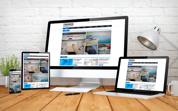emagazine website responsive design screen multidevices - web designer stock photos and pictures