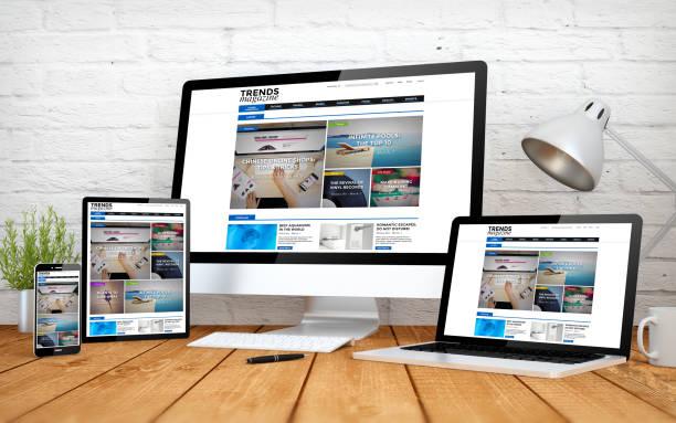 emagazine webseite ansprechende design bildschirm multidevices - webdesigner stock-fotos und bilder