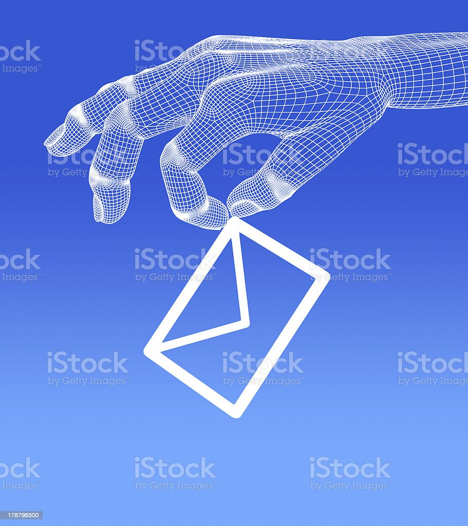 e-mai in 3d hand on blue background. royalty-free stock photo