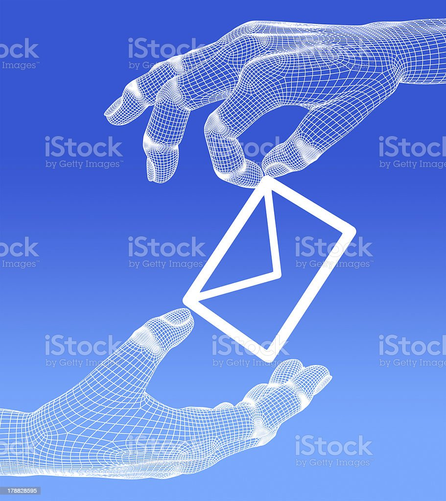 e-mai in 3d hand on blue background. stock photo