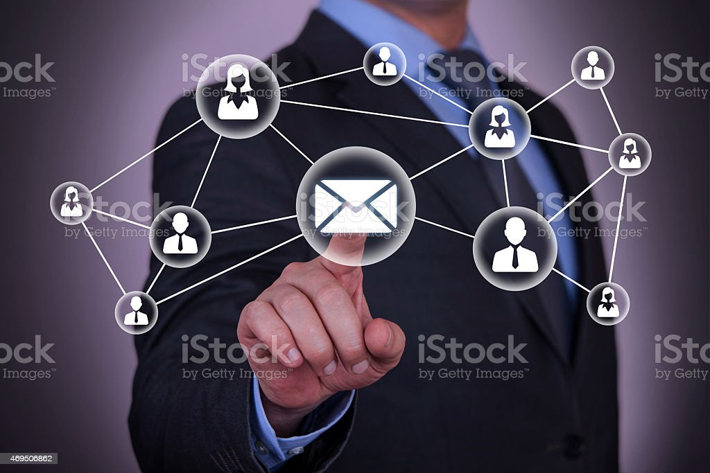 Email and contact symbols concept stock photo