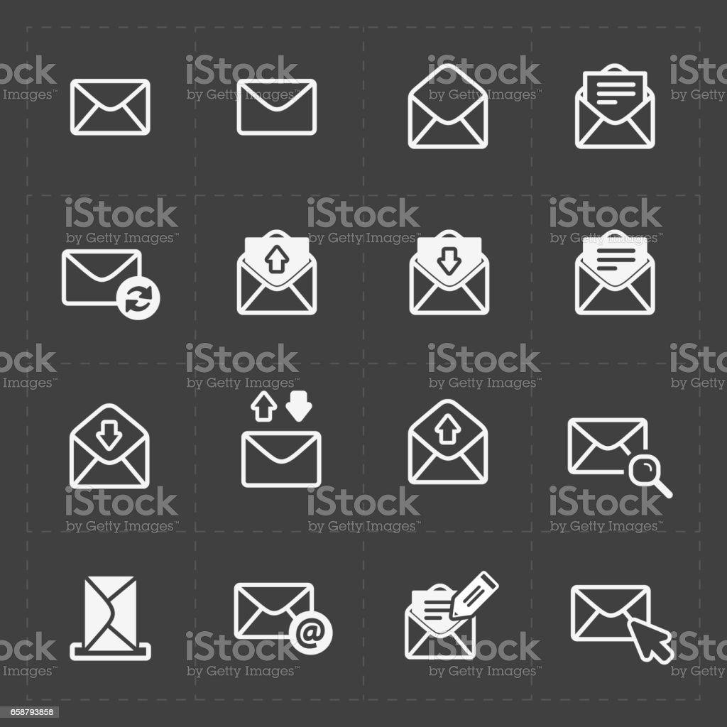 Email and envelope icons on Dark stock photo