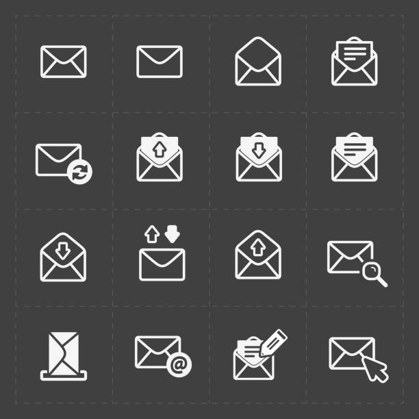 email and envelope icons on dark - icon stock pictures, royalty-free photos & images