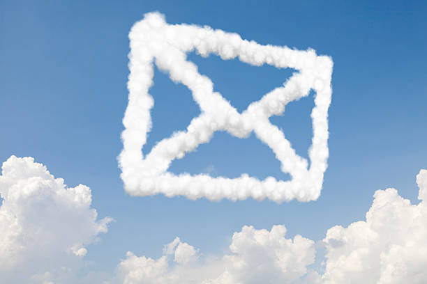 Email and mail concept text in clouds stock photo